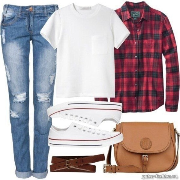 bag jeans casual tomboy tomboy shirt boyfriend jeans ripped jeans converse plaid plaid shirt everyday wear everyday look casual t-shirt tank top red color