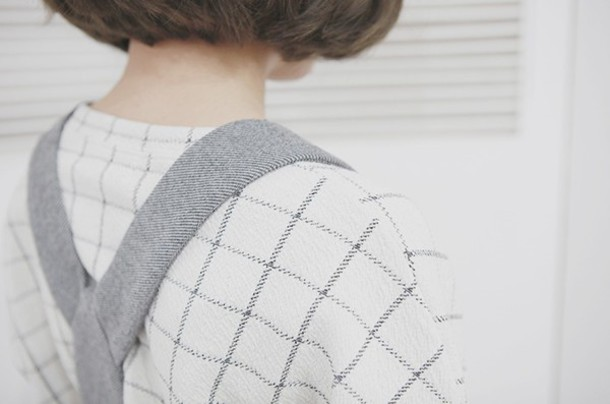 sweater grid sweater checkered sweater minimalist checkered pale white sweater belt