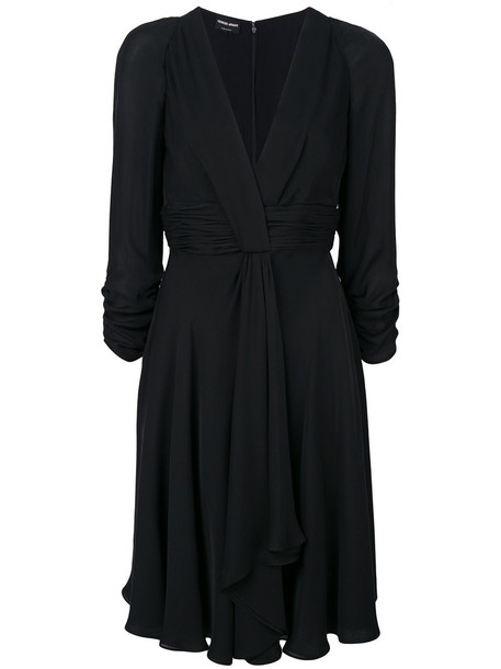 dress draped dress women draped black silk