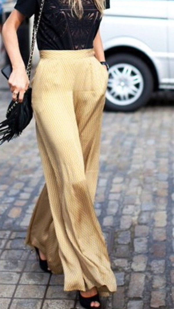 Pants: gold pants, wide-leg pants, wide-leg pants, palazzo pants ...