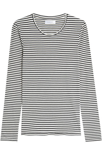 top striped top cotton black