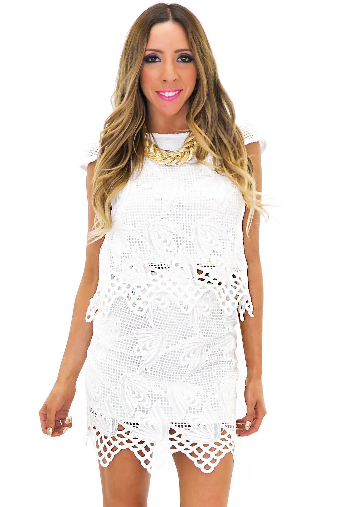 ERIN LACE CUTOUT DETAIL TOP - White | Haute & Rebellious