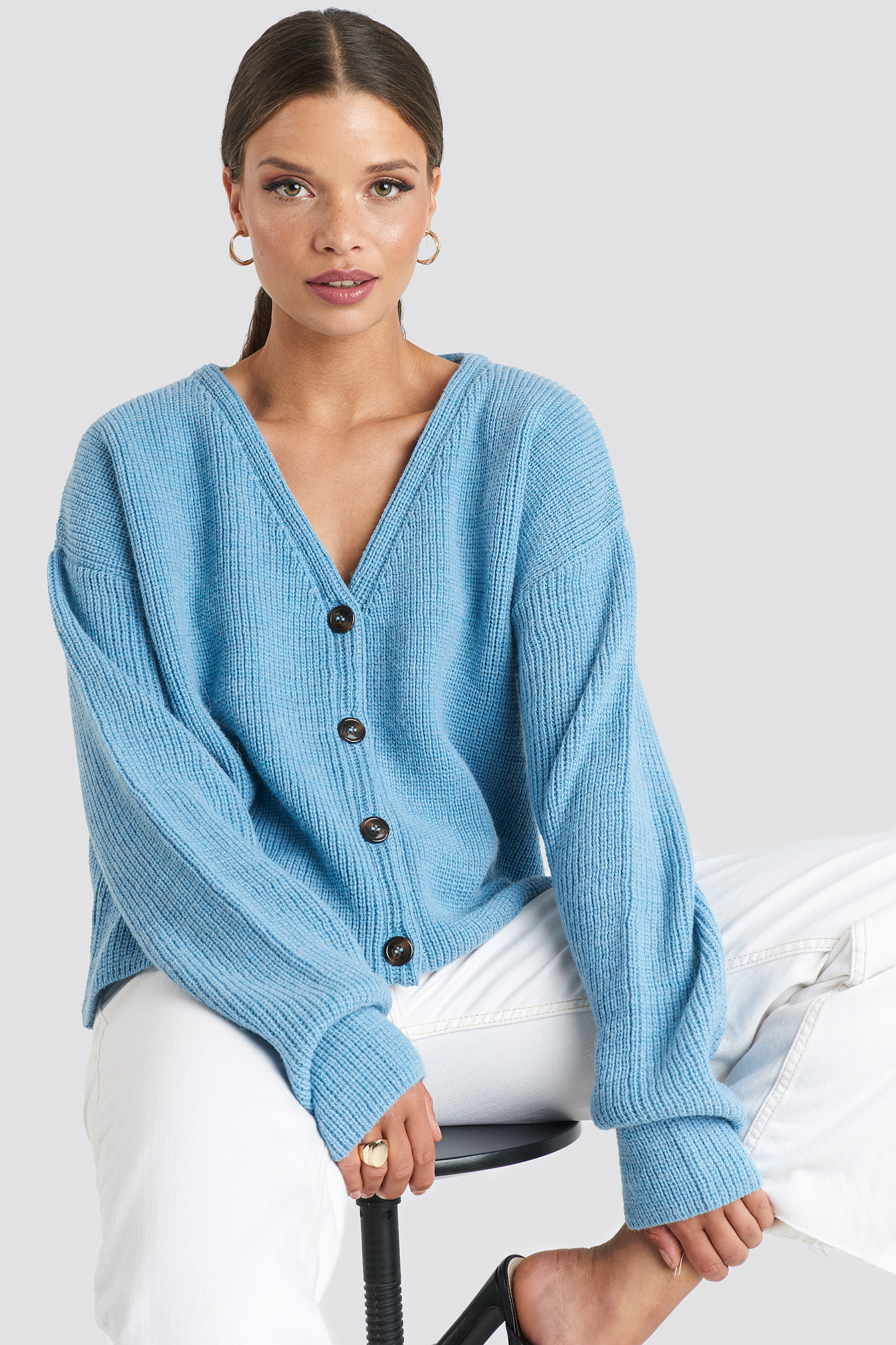 Buttoned Knitted Cardigan Blue