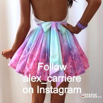dress skirt top pink purple skater skirt pastel tie dye bow