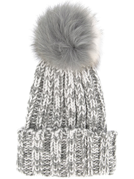 fur fox beanie grey hat