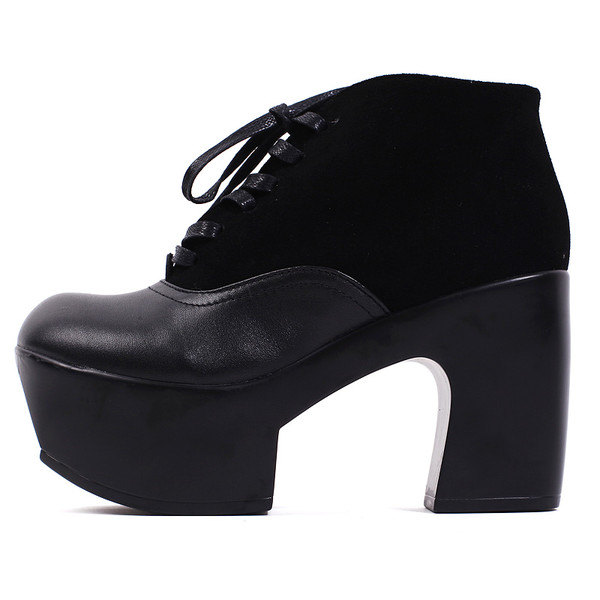 shoes leather leather wedges pumps black fashion