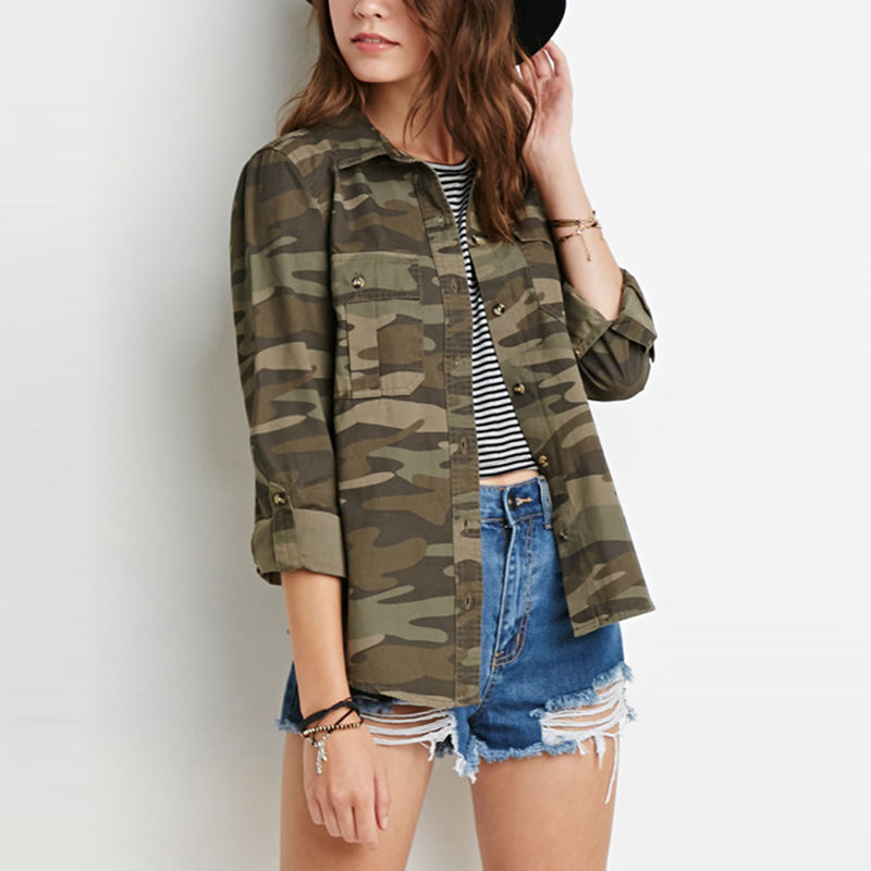 99007dc0b1e4d Womens Camouflage Print Bomber Jacket Button Military Classic Slim Camo Coat