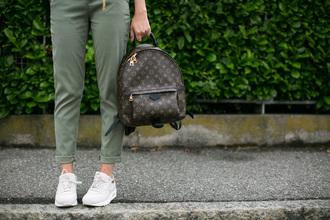 bag green pants louis vuitton backpack backpack louis vuitton pants sneakers low top sneakers white sneakers tumblr