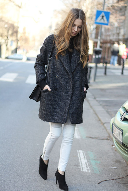 fashion and style blogger zara skinny jeans charcoal grey coat shoes jeans sweater coat bag