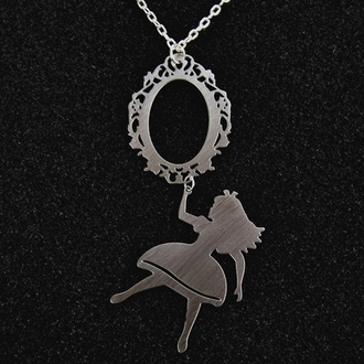 jewels alice in wonderland necklace cute silver jewelry sliver