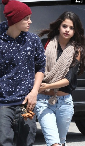 scarf jeans denim selena gomez justin bieber casual