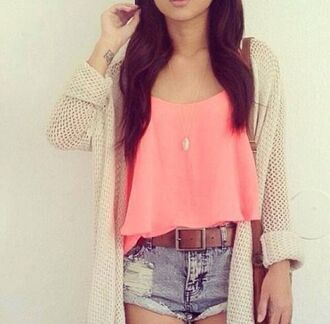 cardigan bag ripped shorts peach belt top pink top girl