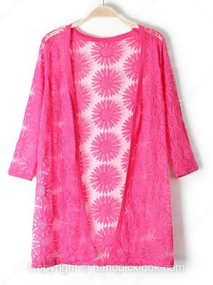 embroidered three-quarter sleeves cardigan kimono hot pink fuschia