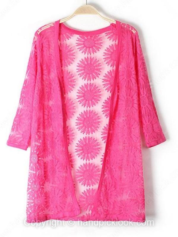 cardigan kimono three-quarter sleeves hot pink fuschia embroidered