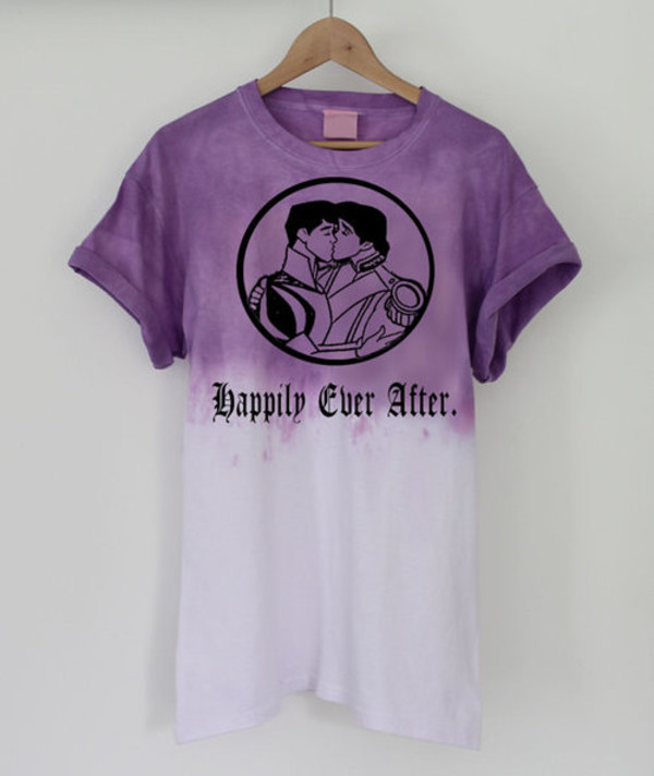 shirt disney gay pride happily ever after prince princess love ombre lgbt kiss kissing magical clothes prince charming t-shirt tie dye purple cute