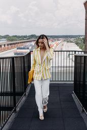 bag,clutch,yellow bag,yellow clutch,pants,white pants,blazer,yellow white blazer,shoes