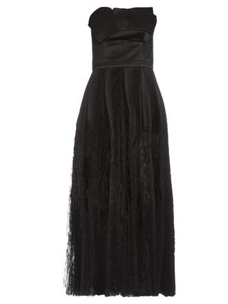 dress silk dress strapless pleated silk black
