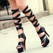 shoes,gladiators,gladiator sandles,black leather,knee high gladiator sandals