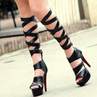 shoes gladiators gladiator sandles black leather knee high gladiator sandals