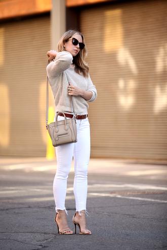 brooklyn blonde blogger belt knitted sweater celine bag nude high heels