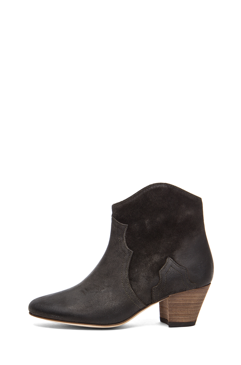 Isabel Marant|Dicker Calfskin Velvet Leather Boot in Faded Black