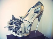 shoes,high heels,crystal,silver,shiny,fancy,bulky,metallic,heels