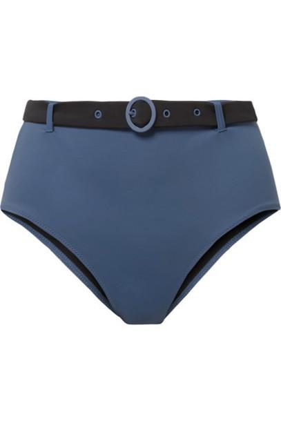 Solid and Striped bikini blue swimwear