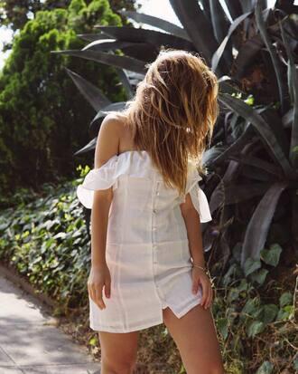 dress tumblr mini dress off the shoulder off the shoulder dress summer dress summer outfits white dress