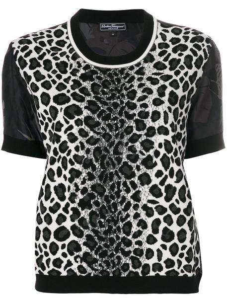 Salvatore Ferragamo blouse women print black silk wool leopard print top