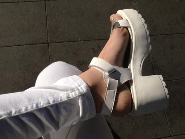 shoes white platform shoes flatforms sandals