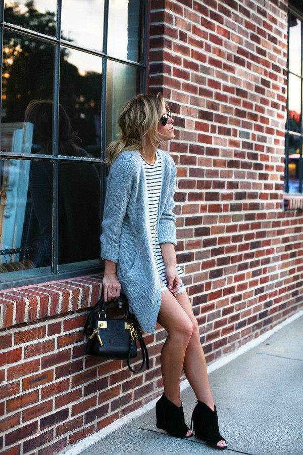 happily grey cardigan t-shirt shoes bag jewels blogger oversized cardigan stripes ripped shorts shorts free people hipster summer outfits striped shirt oversized grey cardigan