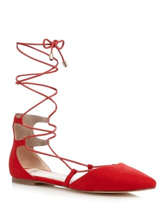 shoes lace up flats pointed toe pumps red shoes