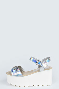 Lilly Cleated Metallic Buckle Trim Flatform at boohoo.com
