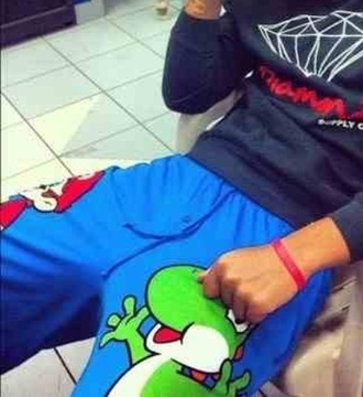 pants mario luigi blue cartoon joggers sweatpants
