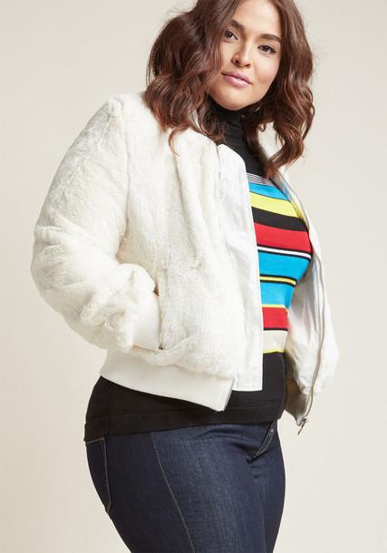 8194JS jacket bomber jacket fur statement silver knit white