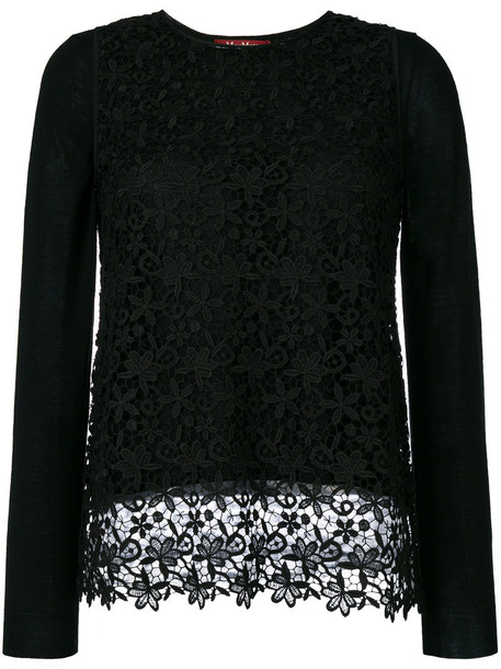 Max Mara Studio top knitted top women lace black wool