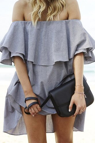 dress off the shoulder grey girly trendy ruffle fashion style summer party