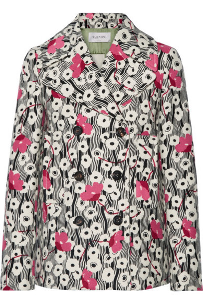 Valentino jacket wool jacket floral print wool cream