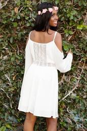 dress,white dress,white lace dress,lace,lace dress,off the shoulder,off the shoulder dress,bell sleeves,bell sleeve dress,bohemian dress,boho chic,chiffon,chiffon dress,hipster,girly,love,clothes,shopping,women's clothing