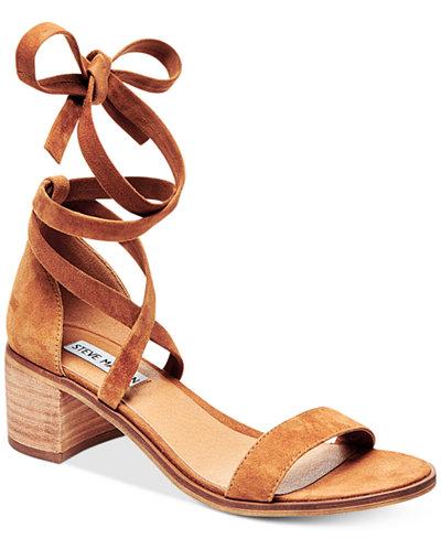 b495c3dbd3d Steve Madden Women's Rizza Lace-Up Block-Heel Sandals - Sandals - Shoes -  Macy's