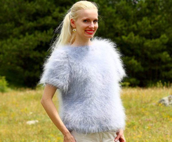 blouse supertanya grey soft fluffy fluffu crewneck mohair sweater jumper angora cashmere wool alpaca
