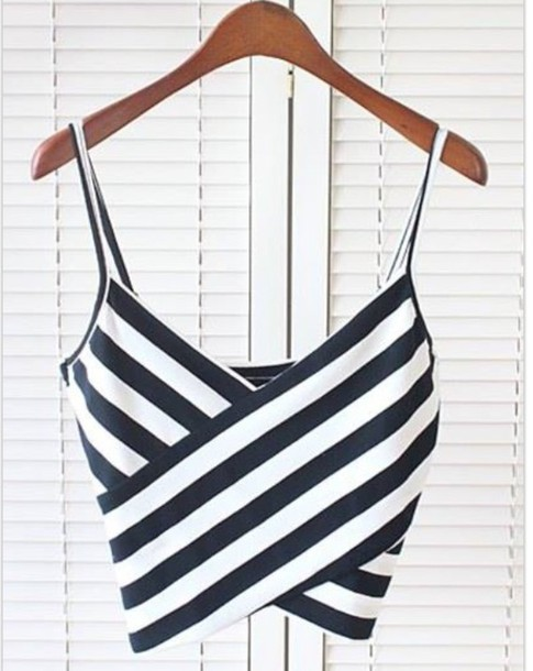 top black and white spaghetti strap crop tops