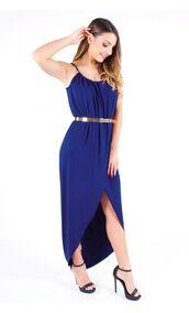 navy maxi dress,navy dress,wrap dress,high low dress,spaghetti strap,www.ustrendy.com