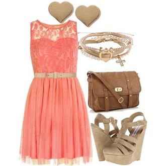 dress pink outfit lace pink dress jewels polyvore clothes bracelets bag shoes wedges lace dress