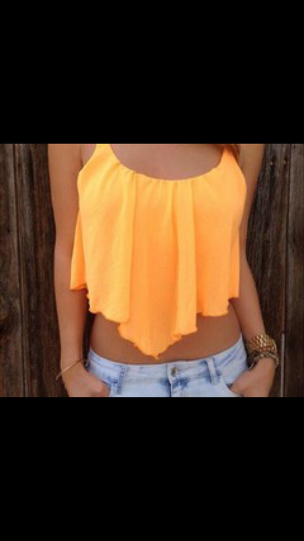 shirt tank top top orange tank top neon t-shirt style blonde hair orange summer outfits blouse crop bright sunny flowy summer