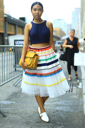 fashion of a novice blogger bag shoes top skirt dress fashion week 2015 new york city colorful striped skirt
