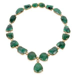 Amazon.com: 18kt Yellow Gold Diamond Pave Emerald Choker Necklace Bridal Wedding Jewelry: Jewelry