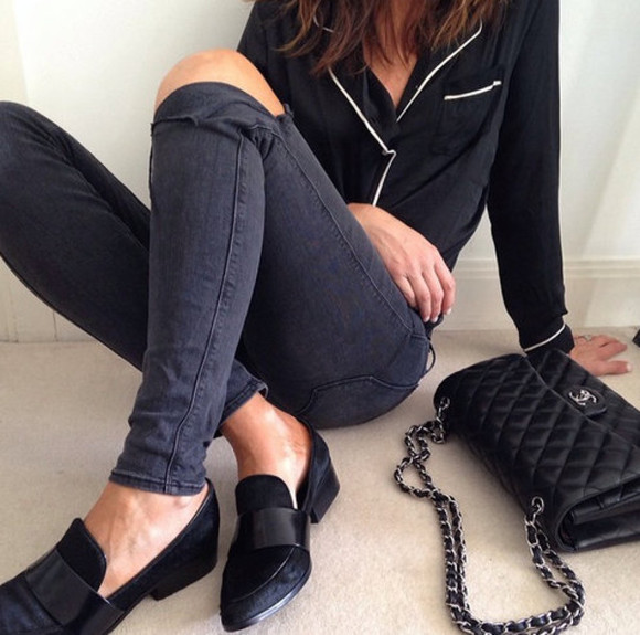 shoes black shoes designer designers minimalist minimalistic jeans blouse chanel bag chanel bag clothes blogger bw black and white girl sleek ripped jeans piping white piping black top black jeans black bag loafers