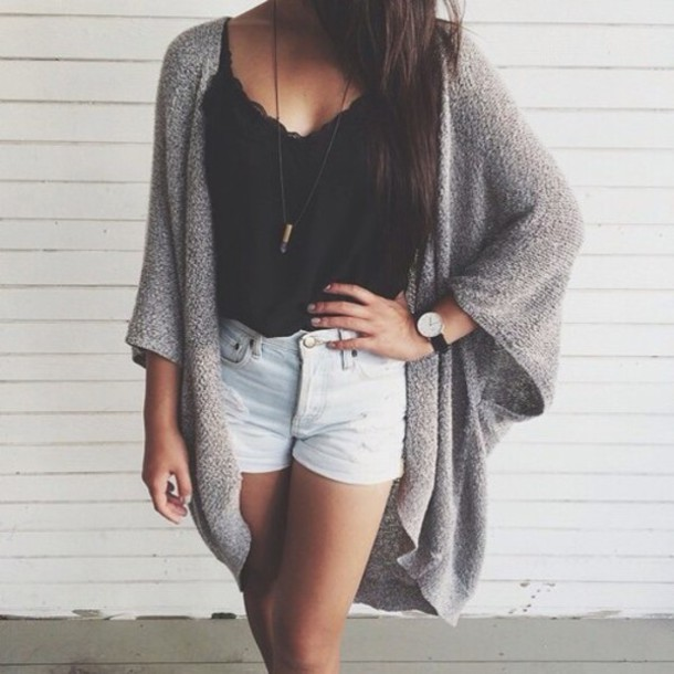 Cardigan: shirt, shorts, black singlet, grey cardigan, watch ...