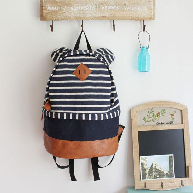 [grhmf2200079]Cute Bear Ear Strip Leisure Backpack